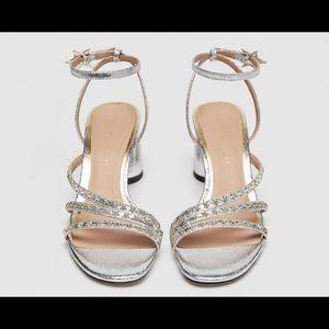 Zara Silver Star Sandals with heel